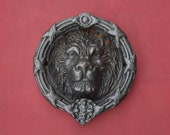 1920s Authentic French Lion 39 s Head Door Knocker, Wonderfully Detailed Cast Iron Lion 39 s Face 2-Part Hinged Door Knocker, 7 Lbs