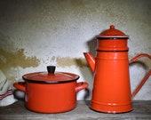 French Red Enamel Coffee Pot Small Red Enamel Casserole Dish, Retro Camping Enamel Stove Top Coffee Pot Vgc 4 Piece Plus Enamel Saucepan
