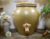 Vintage French Vinegar Crock With Tap Lid, Traditional Stoneware Glazed Vinaigre, 4 Liter French Vinegar Keeper, Rustic French Decor