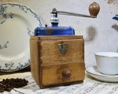 Vintage French Peugeot Freres Coffee Bean Grinder, Peugeot Blue Top 1950 39 s Coffee Mill, Moulin A Cafe, Original Good Working Condition