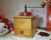 Vintage French Coffee Bean Grinder, Red Top 1950 39 s Coffee Mill, Moulin A Cafe, Maker - Grulet of Migennes, Original Good Working Condition
