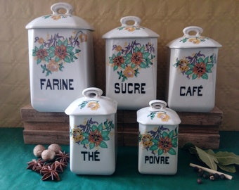 Antique French Porcelain Kitchen Storage Canisters, Vintage French condiment containers, vintage kitchen storage, French country decor