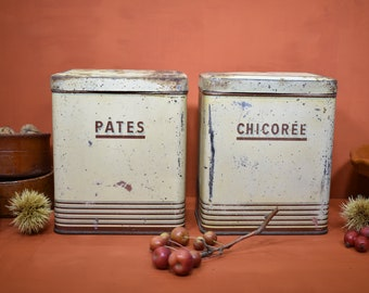 1920's  French Pair of Tin Canisters, French Vintage Art Deco Tin Kitchen Canisters, Shabby Chic French Tins, Rustic Kitchen Decor & Storage