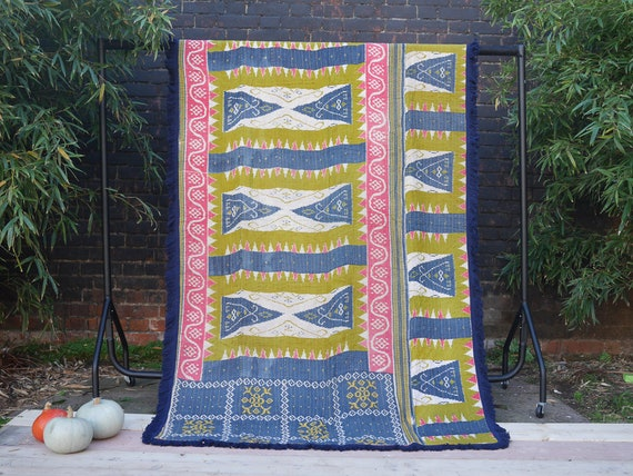 Unique Vintage Kantha Throw with Beautiful Dark Blue fringed edge  - double sided