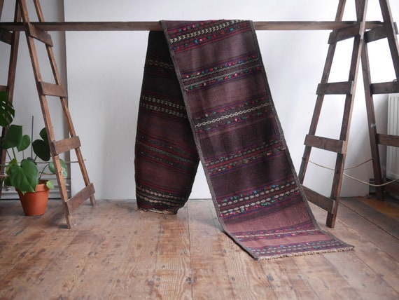 Old Afghan Sumak Runner 10ft x 1ft8