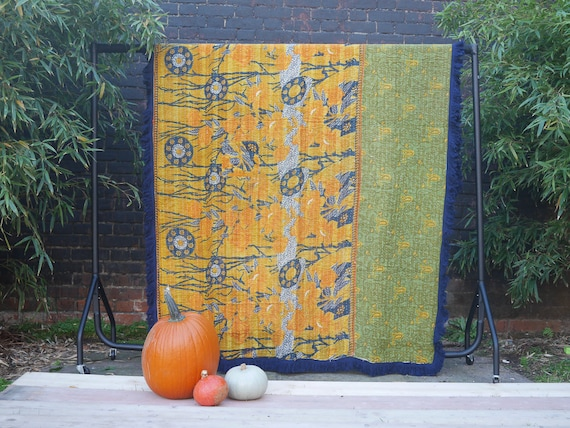 Unique Vintage Kantha Throw with Beautiful Dark Blue fringed edge  - Larger size