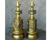 Pair Antique Brass Lamps, Gothic Table Lamps, Applied Relief Bacchanalian Table Lamps, Vintage Metal Art Lamps