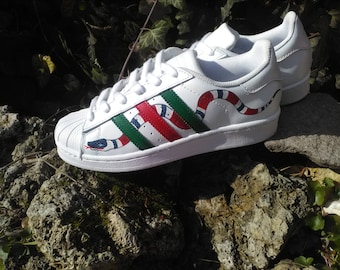 Custom Painted Adidas Superstar Coral Snake c7fe6ff6d348