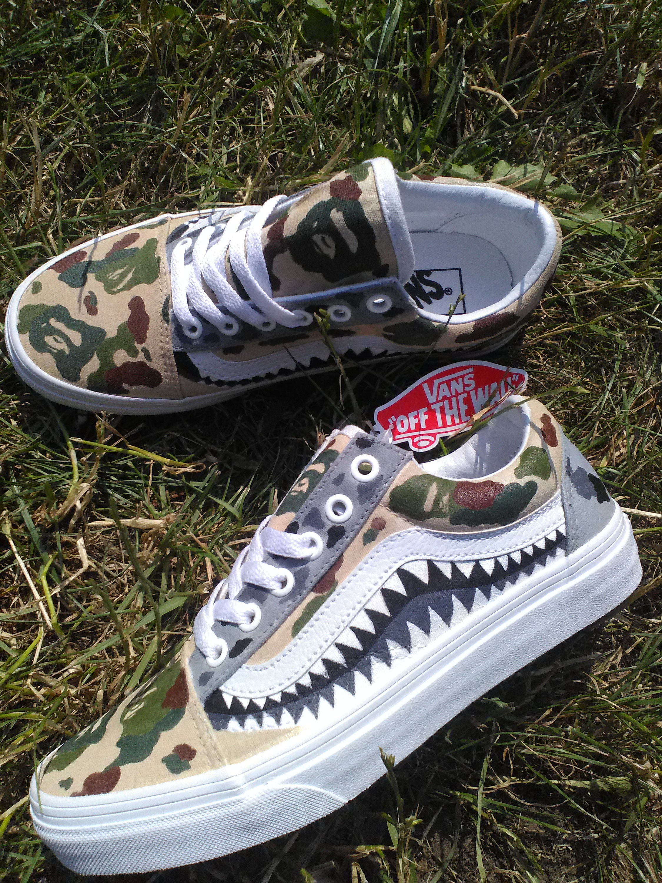 Custom VANS x Bape Shark Teeth Camo  81c11c2d9