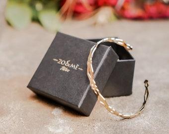 Gold plated reflection open Bangle Bracelet