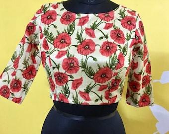 e0e1729388 Bangalori Silk Red Floral Blouse/Choli, Indian Blouse, Saree Blouse,  Lehenga Choli