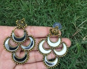 Ready to Ship - Antique Finish Earrings with Crescent Shaped Mirror Embellishments Party Earrings Indian Earrings