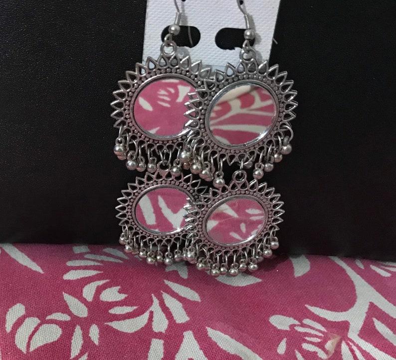 11d870ce6 Oxidised Silver Earrings l Mirror Work Afghani Earrings l | Etsy
