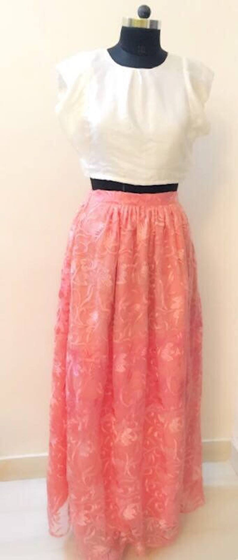 84c53dbce78 White Satin Crop Top with Pink Flared Floor Length Skirt | Etsy