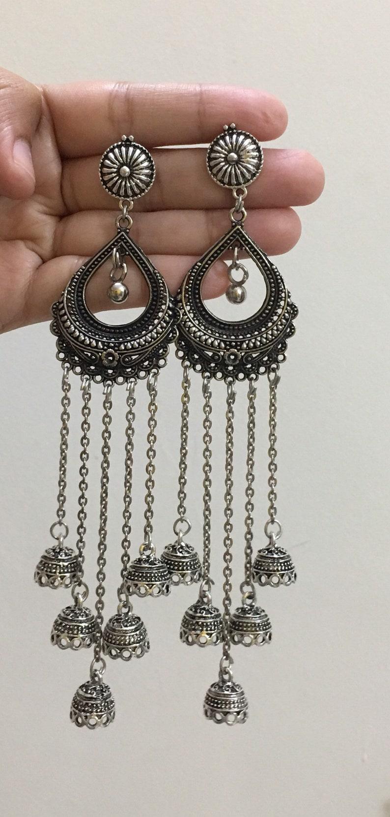 Multiple Jhumka German Silver Earrings Oxidised Silver Jhaalar Jhumka Earrings