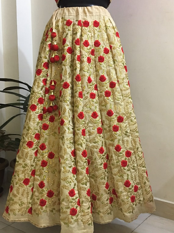 Beige Red Floral Embroidered Lehenga With Dupatta Flared Etsy