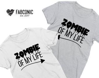 Zombie of my life shirt, Couples halloween shirts, Matching couples halloween shirts, Halloween couples shirts, Halloween couple