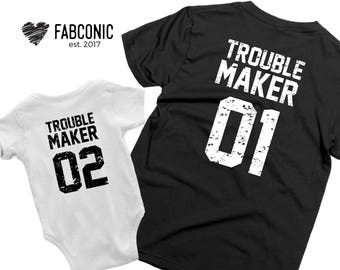 Troublemaker 01 shirts, Mom daughter shirts, Matching mom daughter shirts, Troublemaker mom daughter shirts, Screen-printed