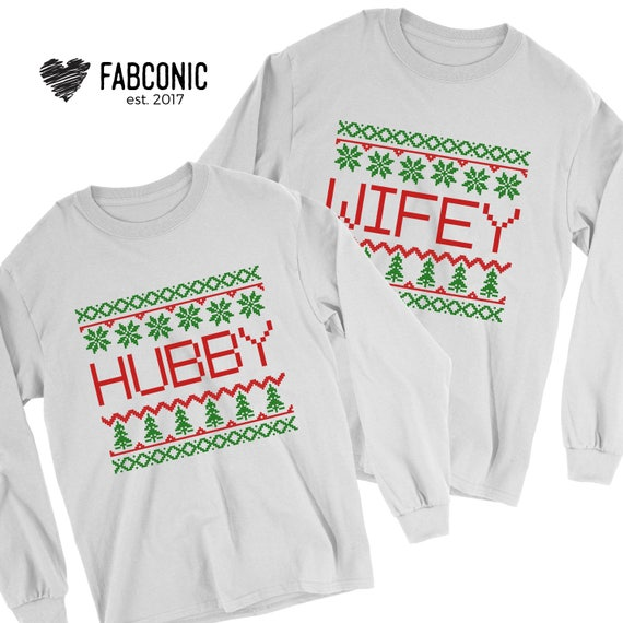Ugly Christmas Sweater, Christmas Sweater, Hubby Wifey Christmas Sweaters,  Matching Couple Sweatshirts, Ugly Christmas Sweaters for Couple