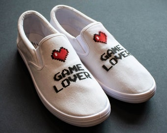 8a23f4a7250c White Slip-On Plimsoll Trainers with Spray Painted Game Lover Design -  Unique Skateboard Shoes