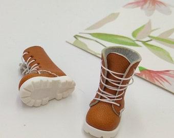 Tan Handmade Shoes  For Doll Blythe / Barbie / Momoko / Licca /  DAL / Jenny / Latti _Y / Pullip