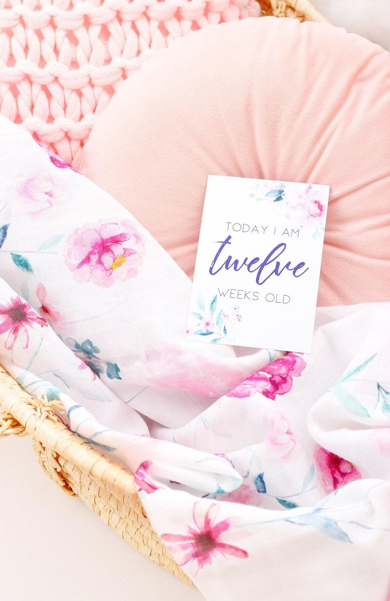 Baby Keepsake Baby Milestone Cards Baby Girl Floral Milestones New Baby Girl Gift Baby Shower Gift