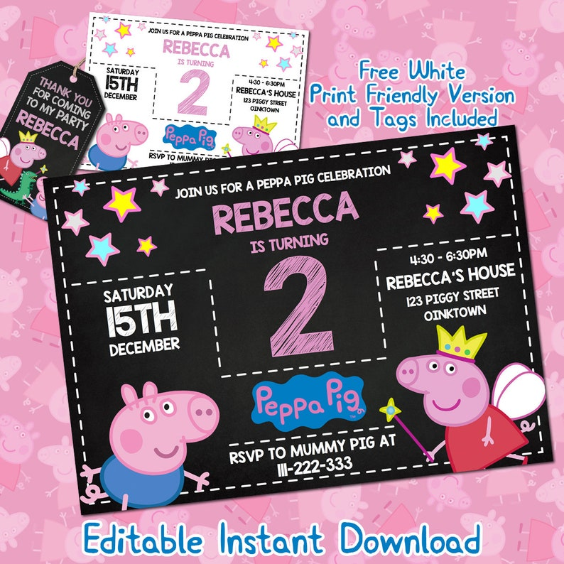 Peppa Pig Invitation Download