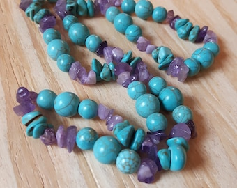Turquoise and Amethyst Necklace, Amethyst and Turquoise Necklace, Natural Stone Necklace, Boho Necklace, Handmade Natural Stone Necklace