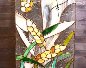 "Summer field ""Spikelets"" Tiffany's stained glass clock"