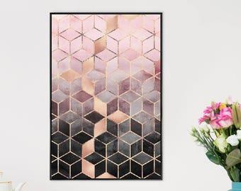 "Geometric Poster - ""Pink Grey Gradient Cubes"" at JUNIQE - Artist: Elisabeth Fredriksson"