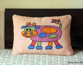 linen cushion with applique cow