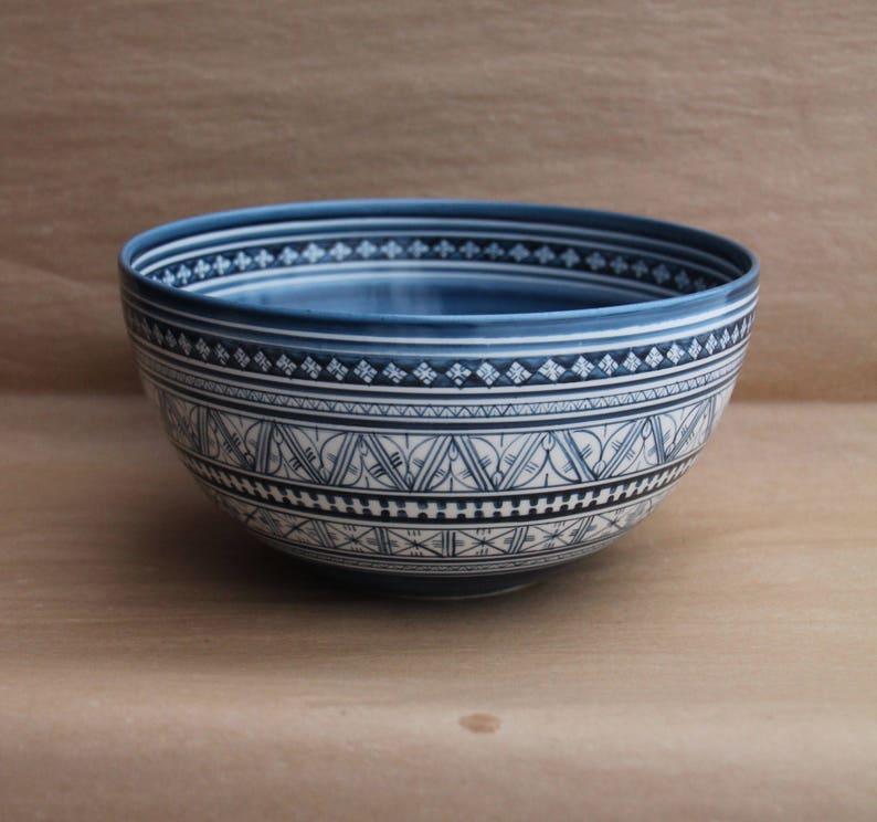 Salad Bowl in Blue Marli Pattern