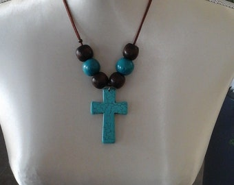CreAtonia: cross Turquoise necklace