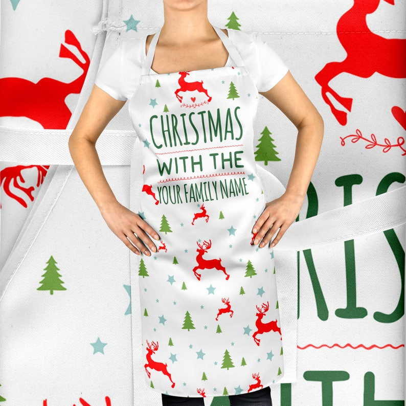 Kitchen Festive Decoration Christmas With The Personalised Christmas Gift ST55 Your Name Printed Christmas Apron Christmas Decorations