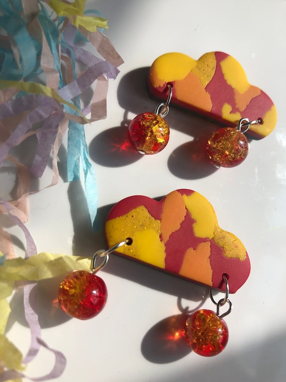 Cloud Beaded Earring Sparkle Polymer Clay Dangle Red Gold
