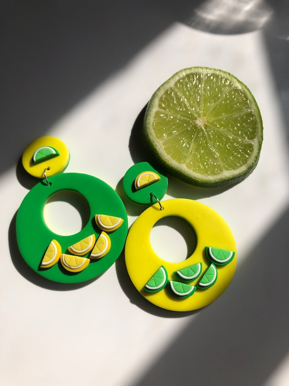 Citrus Statement Earrings Dangle Lemon and Lime Cocktail Summer Fun 1960 1970