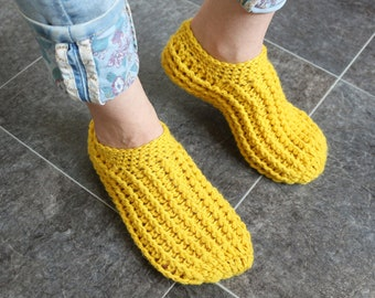 ba283866c558fd Adult slippers Hand knit slippers Wool crochet socks Yellow slippers Ladies  slippers Wool slipper socks Women knit socks Chunky slippers