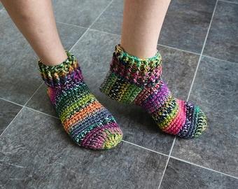 3c9cb03cad0211 Women knit socks Rainbow socks Wool knit slippers Crochet socks Adult  slippers Crochet slippers Slipper boots Hand knit slippers Warm socks