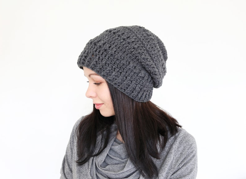 ae0a9184866 Women beanie hat Crochet beret Grey slouchy hat Cable knit hat