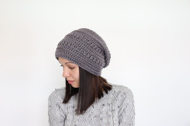 823b107136d Woman crochet hat Grey slouchy beanie Knitted chemo hat