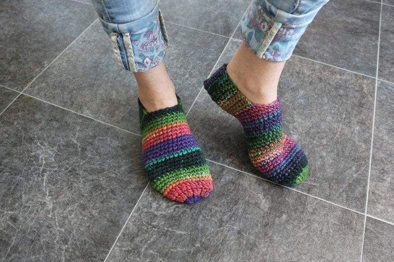 313f026e2599a Woman crochet slippers Alpaca wool Adult slippers Crochet house shoes House  slippers Crochet boots Rainbow socks Knitted slippers