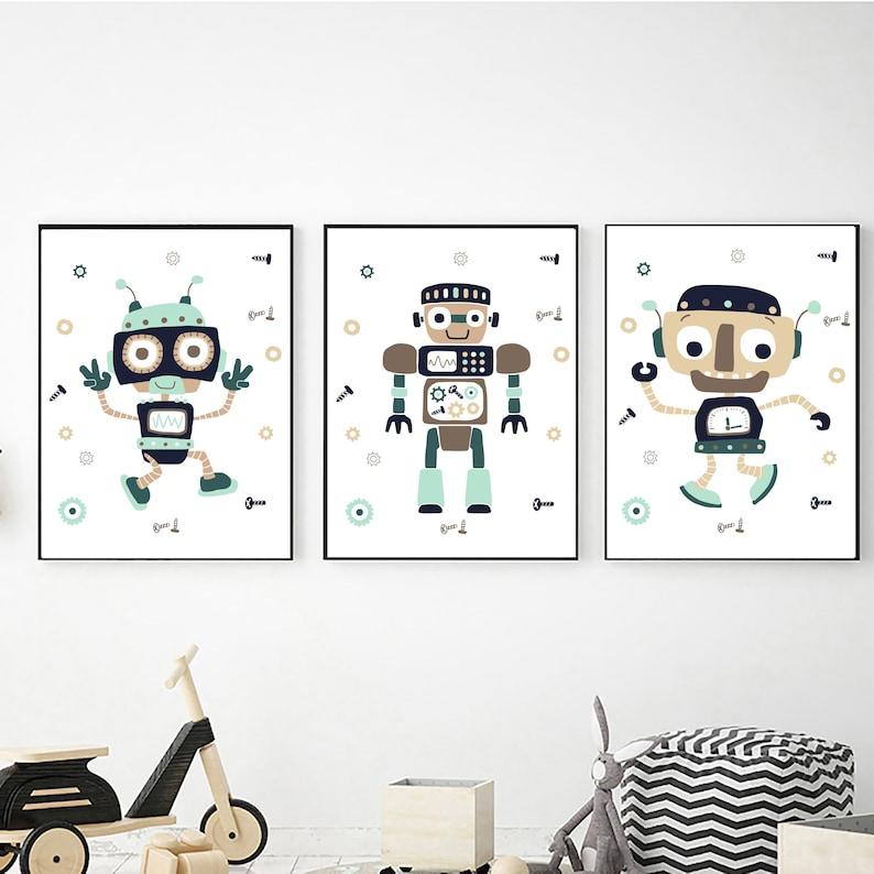 Digital Download 8x10 11x14 16x20 Robots Wall Art Set of 3 for Boys Printable Wall Art Robot Prints Nursery Decor Boys Bedroom Decor
