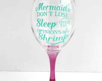 Mermaid vibes wine glass- Purple stemmed wine glass- Mermaid- Gifts for her