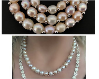 big baroque pearls on 925 silver pointed oval links mod flapper style statement 70/'s sterling peacock pearls long hippie couture necklace