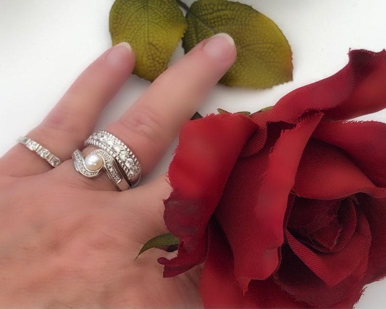 Women/'sLadiesMom Gift Size 7 34 Elegant CZSterling Silver Eternity Ring Cubic ZirconiaAnniversaryStacking Band