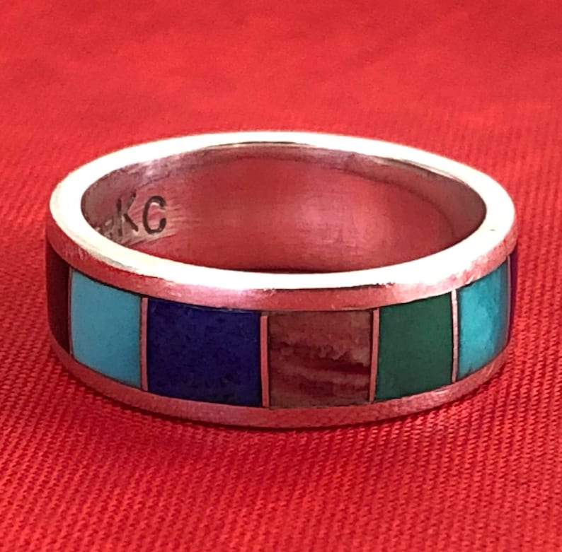Size 6 Sterling Silver BandInlay: OpalTurquoiseOnyxLapisMalachite Rainbow Native American Multi Gemstone Ring Gift TeenWomenMom