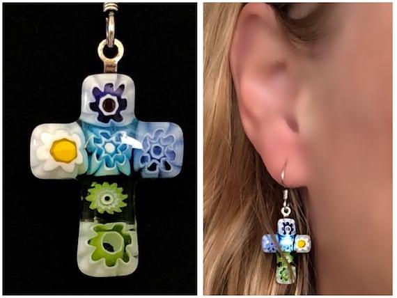 PiercedDangleWires WomenMom Gift Mismatched Rainbow Flowers Murano Italy Glass Colorful Millefiori Cross Earrings
