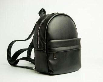 5b74708ec577 Eco leather backpack Mini backpack Black backpack Vegan leather rucksack  Small backpack Women rucksack City backpack Faux leather