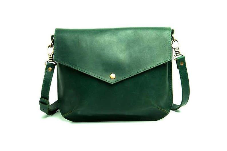 0f9d146ce6349 Zielona torba na ramię naturalna torba skórzana torebka