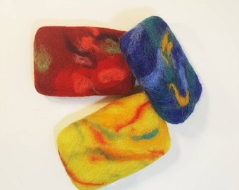 Wool felted soap - sponge (3 pieces)